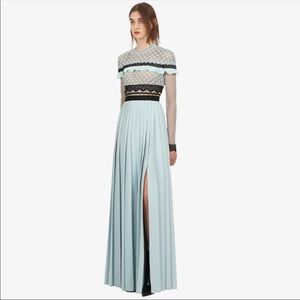 Light blue lace and pleated gown